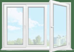 трехстворчатое пластиковое окно